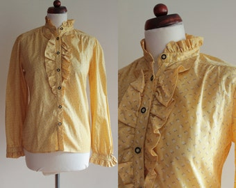 Vintage German Peasant Blouse - 1980's Yellow Ruffled Blouse  - Size M