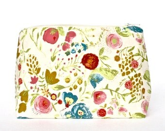 Painted Garden Floral Cosmetic Bag in Rose, French Blue, and Gold