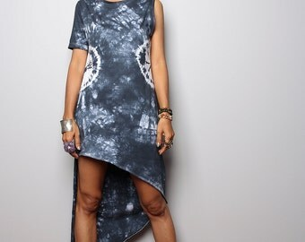 Summer Dress - Dark Grey Dress - Hand Dyed Dress - Party Dress : Tie Dye Collection (04020)