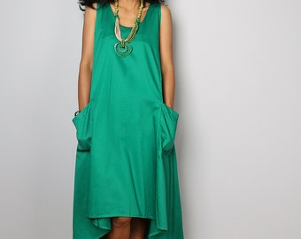 Sleeveless Dress - Green Dress - Green Halter Dress : Let's Party Collection 2015