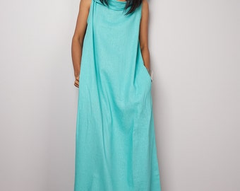 Mint Dress / Sleeveless Mint Dress with hood / Mint Linen Dress  : The Soul of the Orient Collection No.4