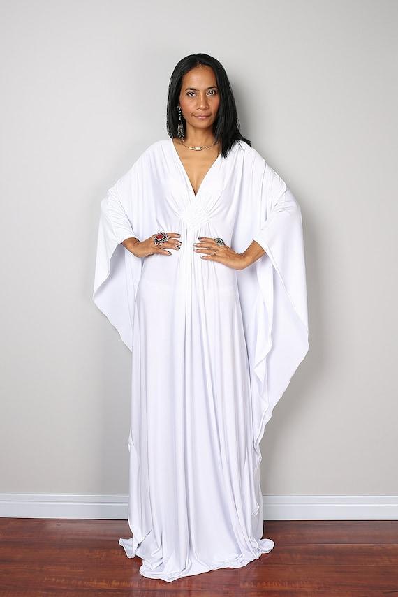 White Maxi Dress Kaftan Kimono Butterfly Dress: Funky