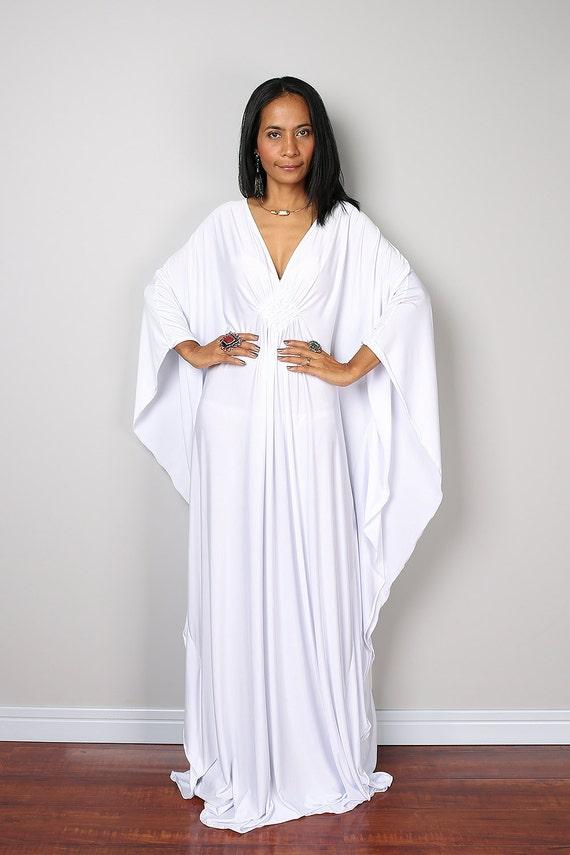 White Maxi Dress Kaftan Kimono Butterfly Dress: Funky by Nuichan