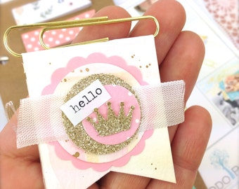 hello Banner Paper Clip | Pink and Gold Paper Clip Party Favors - Paper Banner Bookmark | Princess Novelty Paper Clips. Sweet Princess gifts