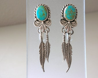 Large Turquoise Earrings Dangle Silver Feathers Boho Blue Turquoise SiGNED Carol Felley 1994 Sterling Silver Drop Feather & Turquoise Post