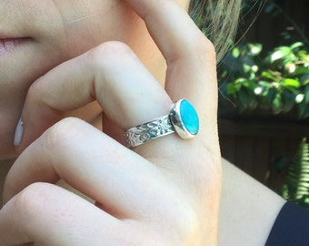 Natural Turquoise and Sterling Silver Ring