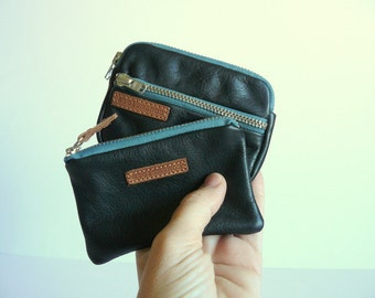Pocket wallets gift set - unisex  black leather & teal zippers / Christmas gift -gift for her-gift for dad