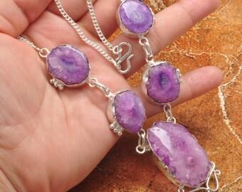 """Purple Solar Quartz silver plated 20.5"""" necklace ( #J695)"""