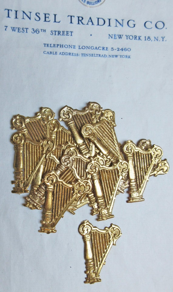 vintage antique gold harp dresden diecut victorian scrap. Black Bedroom Furniture Sets. Home Design Ideas