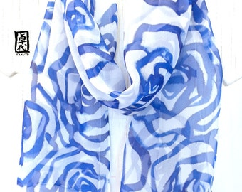 Silk Scarf Handpainted, Birthday Gift, Silk Scarf Blue, Blue and White Scarf, Valentines Day Gift, Blue Roses Scarf, Chiffon Scarf, 11x60 in