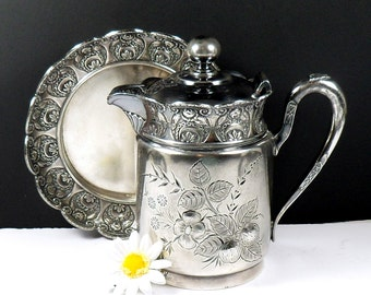 Silver Plate Ceamer Underplate Triple Plate Embossed Flowers Miniature Rogers & Bro 1800s Antique International Silver