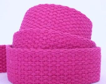 "Cotton webbing, pink, heavy weight 1"" x 4.5m, UK shop"