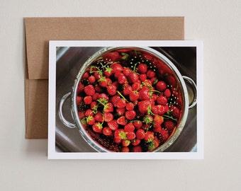 DIY Printable Notecards / Fresh Strawberries / Blank Inside