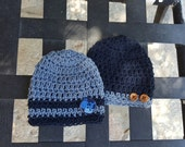 Baby Boy Crochet Hat Beanies Set 0f 2 Newborn 0-3 Months Baby Shower Gift FREE SHIPPING Ready to Ship