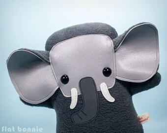 Elephant plush Elephant stuffed animal, Cute wildlife toy, Kawaii elephant soft toy doll, Handmade birthday gift, African Asian, Flat Bonnie
