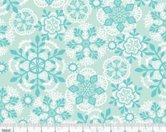 Vintage Noel - Crochet Snowflakes Blue from Blend Fabrics