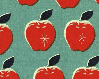 Picnic - Apple Blue Red CANVAS LINEN by Melody Miller from Cotton + Steel