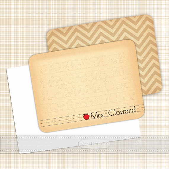 personalized notecards - set of 16 - thank you cards, teacher notecards, chevron notecards, personalized stationery, NS118