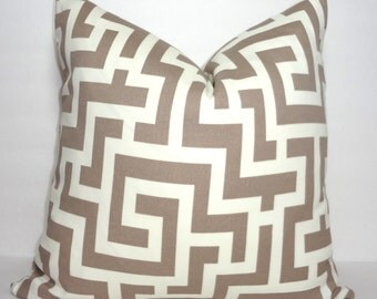 OUTDOOR Taupe & Ivory Geometric Pillow Cover Taupe Greek Key Pillow Cover Deck Patio 18x18
