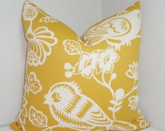 FALL SALE OUTDOOR Pillow Cover Yellow & Ivory Bird Pillow Cover Porch Decorative Pillow 18x18