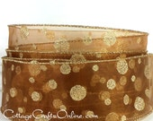 "Wired Ribbon, 1 1/2"",  Bronze  Brown Sheer, Gold Glitter Polka Dots - FIFTY YARD ROLL - Christmas, Thanksgiving Wire Edged Ribbon"