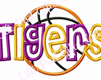 TIGERS-Basketball-Middle - Applique - Machine Embroidery Design - 8 Sizes