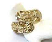 Lucite Seashell Clamper Bracelet, Bypass bracelet, 1950's, Shell, Gold Glitter, Beach Wear, Resort, Summer Casual, Gift Idea, Excellent