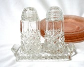 Cut Glass Salt and Pepper Set with Tray, 1930's, glass tops, diamond point, depression glass, Excellent