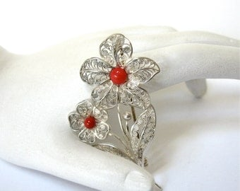 Vintage Silver Filigree Floral Brooch, pin marked 835, coin silver, two flowers, red centers, european, Excellent