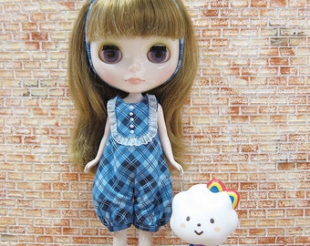 Blythe outfit : Sweet blue plaid romper