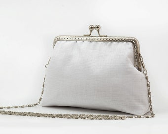 White Bridal Clutch Purse - White Bridesmaid Clutch Purse - Wedding Clutch Purse - Evening Clutch Purse - Silver Frame