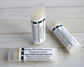 Peppermint Lip Balm - with Beeswax, Cocoa Butter and Shea Butter - Unsweetened