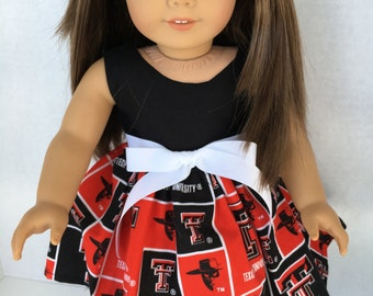 18 inch doll game day dress made of Texas Tech fabric,  made to fit 18 inch dolls such as American Girl and similar 18 inch dolls