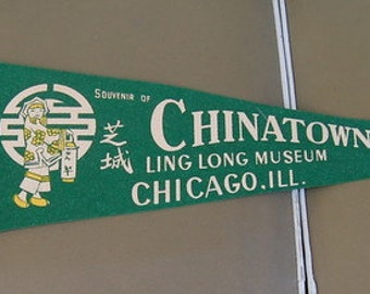 Souvenir Pennant Chinatown Lin Long Museum Chicago Retro Kitsch Fun Display