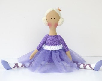 Purple ballerina doll princess doll fabric doll lilac cloth doll stuffed doll softie plush handmade rag doll birthday gift  for girls