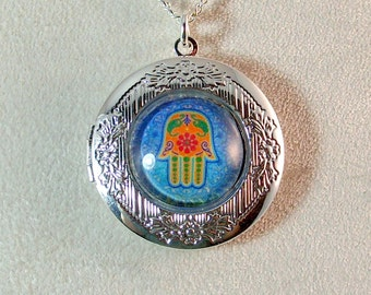Picture Locket - Multi-Colored Hamsa