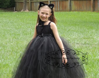 The Hair Bow Factory Black Cat Halloween Costume Tutu Dress Size 6-12 Months to Size 14