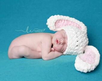 Bunny Hat - Easter hat- Baby Bunny Costume - Newborn Bunny Hat - Animal Hats - Crochet Hats - Bunny Costume -Newborn props - Boy Hats