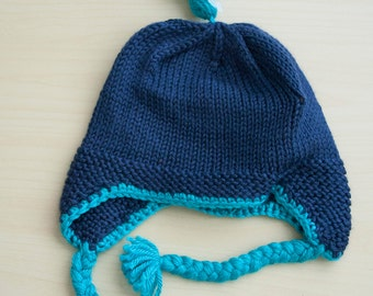 Blue hat with earflaps