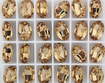 Swarovski 4100 Light Colorado Topaz 12x10mm Vintage Crystal Stone Foiled - 1 Piece