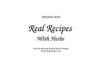 Selections from Real Recipes With Herbs