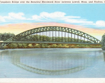 Nashua, New Hampshire, Lowell, Massachusetts, Tyngsboro Bridge, Merrimack River - Vintage Postcard - Postcard -  Unused (ZZZ)