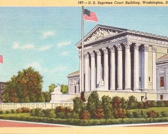 Washington D.C, U.S. Supreme Court Building - Linen Postcard - Unused (BBB)