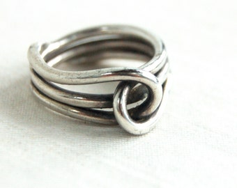 Sterling Silver Knot Ring Size 8 .25 Vintage Mexican Heavy Gauge Sterling Wire Modern Taxco Mexico Jewelry