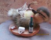 Taxidermy drunken duckling mounted on natural wooden base