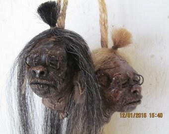 Shrunken head replica SMALL in Black or Blonde