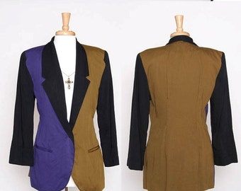 ON SALE Vintage 80s 90s Blazer / Color Blacking / Two Tone / Boyfriend Blazer