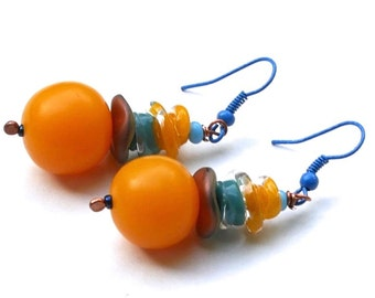Handmade Chunky Earirngs in Shades of Blue and Ombre Mustard Yellow / Mango Orange - Lampwork Glass Beaded Earring