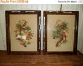 Valentine SALE pair antique bird prints autumn and winter