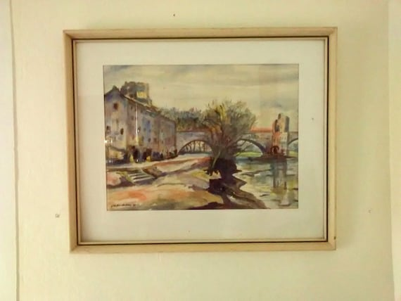 1930's French Artist Watercolor Painting Listed French Artist Bouthillier